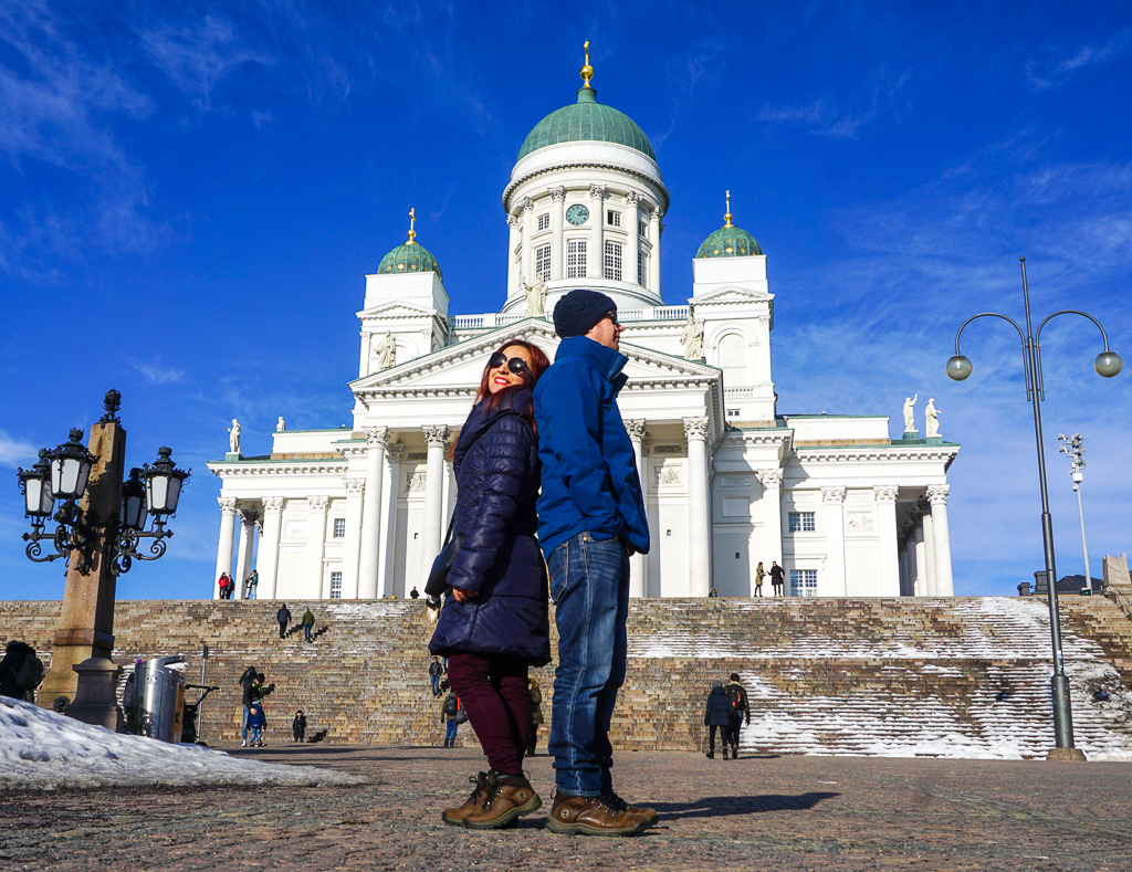 A Quick Stop in Frozen Helsinki Finland - Buy My Morning - Outside Helsinki Cathedral Finland posing for an instagram moment