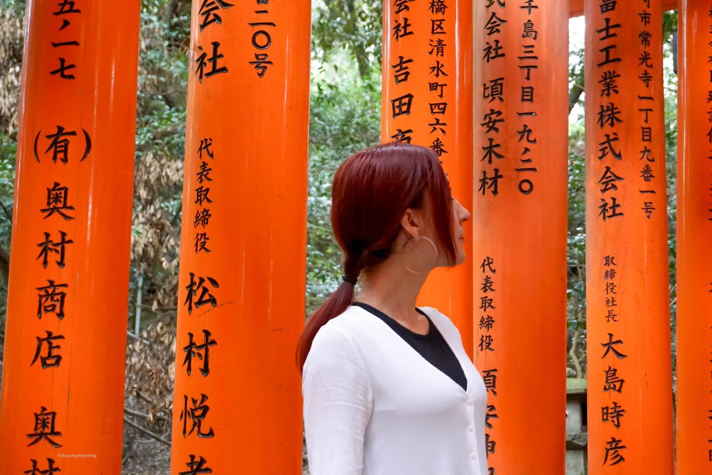 Why is Japan on every traveler's bucket list - Buy My Morning - Fani in Kyoto on the Fushimi Inari Taisha Shrine walk