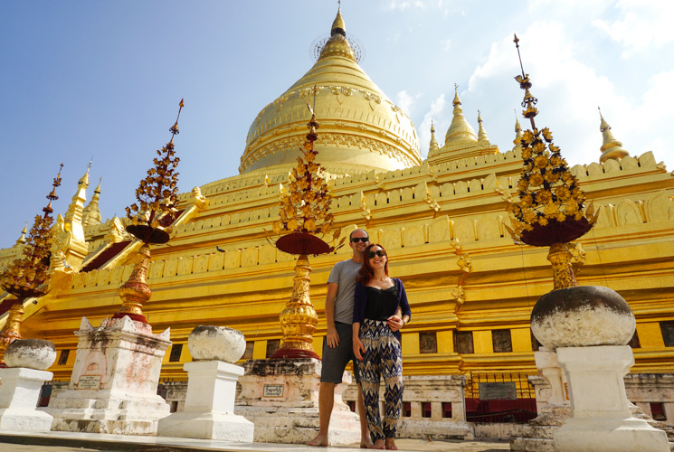 Dan & Fani posing for a photo outside the Shwezigon Pagoda | Buy My Morning