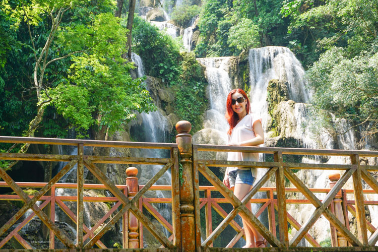 Fani by the truly beautiful Kung Si Waterfalls just outside Luang Prabang | Buy My Morning