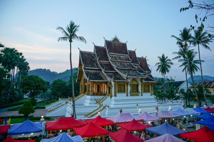 The beautifully laid out Luang Prabang night market, just after the sun has set | Buy My Morning