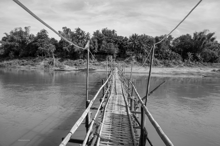 Awesome view straight down the bamboo bridge in Luang Prabang Laos | Buy My Morning