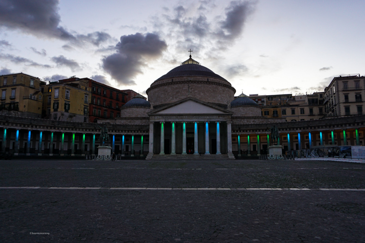 The stunning large Piazza del Plebiscito with its curved shaped extend walkways in both directions from the main dome structures | Buy My Morning | Naples in the Mediterranean Winter 10 Things to do